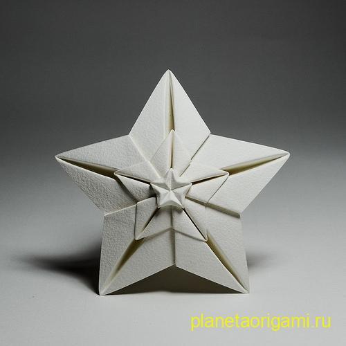Оригами сияющая звезда по схеме Хоанг Тянь Квет (Hoang Tien Quyet)