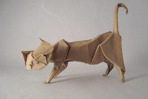 Оригами кот по схеме (Эрика Жуазеля) Eric Joisel