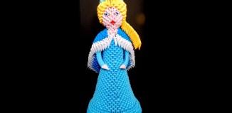 Оригами Королева Эльза из мультфильма Холодное сердце