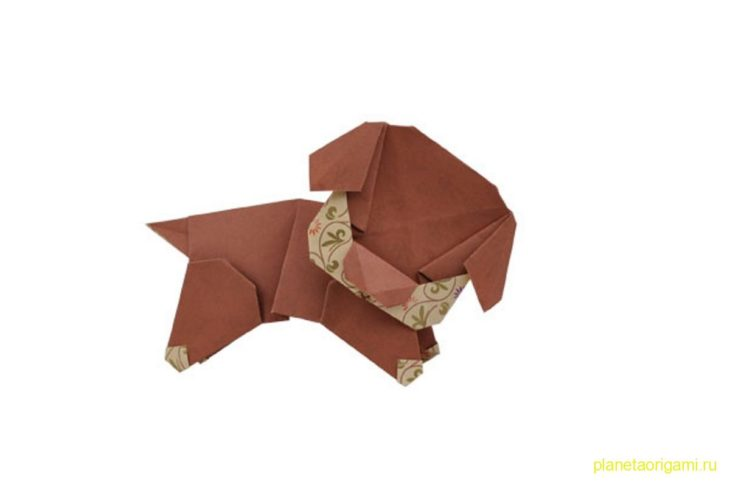 Оригами спящий щенок по схеме Шоко Аояги (Shoko Aoyagi)
