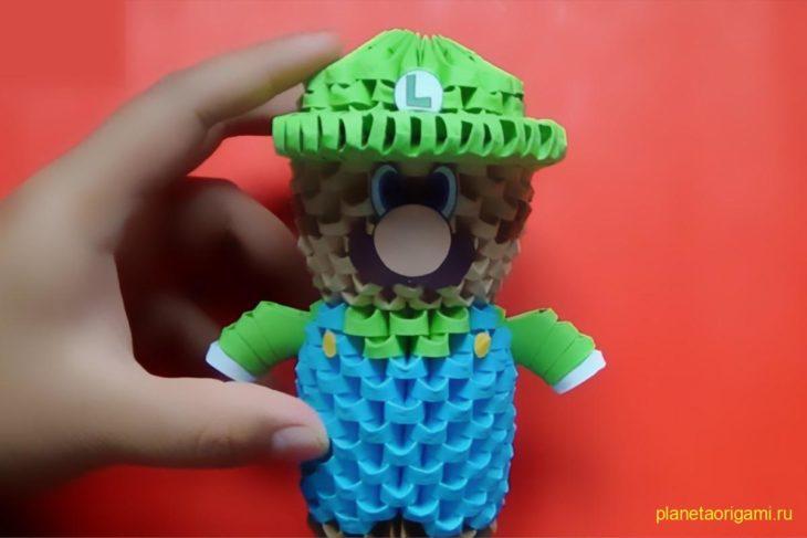 Оригами 3D-Мини Луиджи из модулей