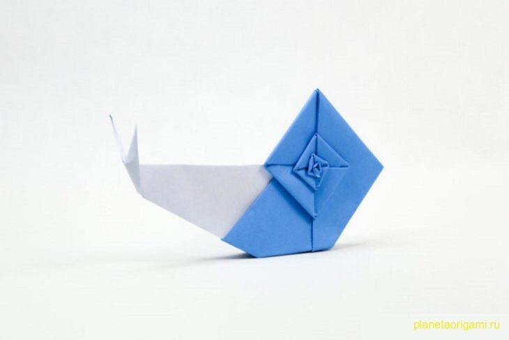 Оригами улитка по схеме Эрика Гьерде (Eric Gjerde)