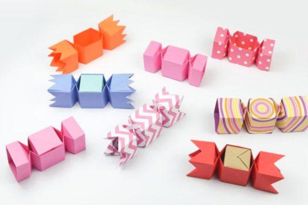 Оригами подарочная коробка-конфета