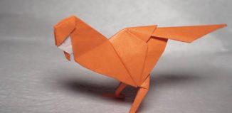 Оригами простая птичка по схеме Генри Фама (Henry Pham)
