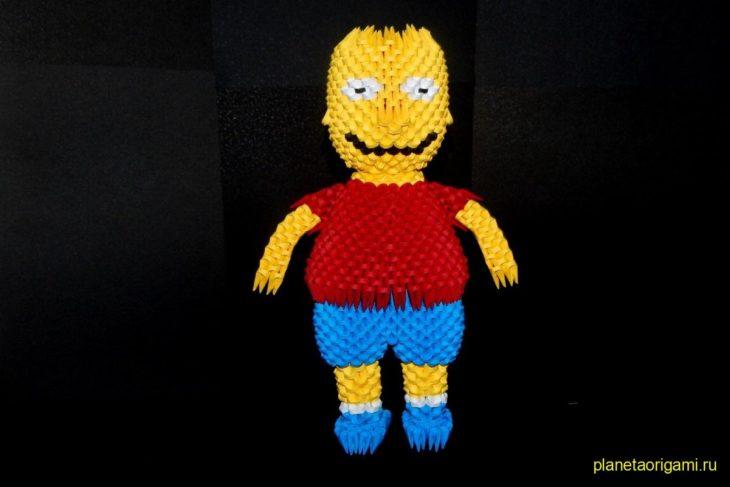Оригами 3D Барт Симпсон из треугольных модулей