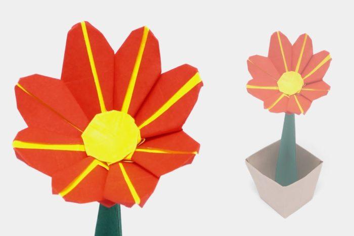 Оригами маргаритка по схеме Джо Накашима (Jo Nakashima)
