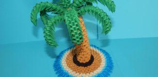 Оригами 3D пальма из треугольных модулей