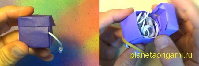 Оригами коробочка для наушников по схеме Джереми Шейфера (Jeremy Shafer) из бумаги фиолетового цвета