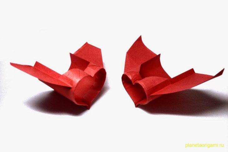 схема модульного оригами самолет
