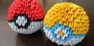 Оригами покебол из треугольных модулей