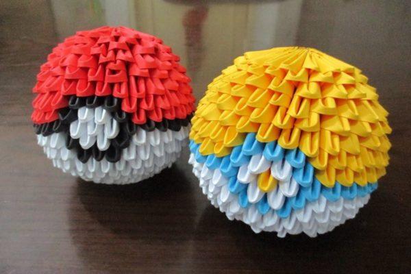 Оригами покебол и паркбол из модулей