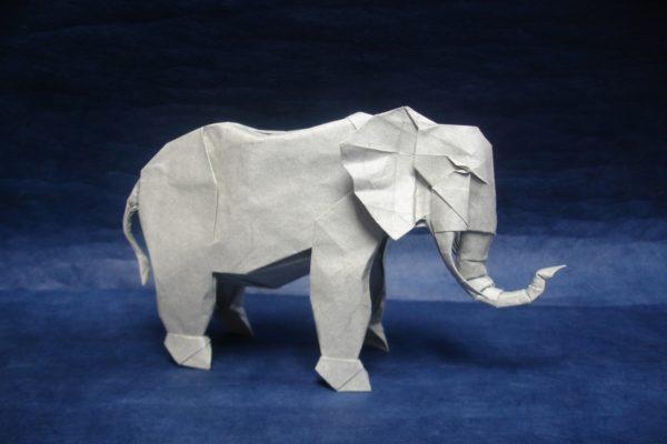 Оригами африканский слон по схеме Шуки Като (Shuki Kato)