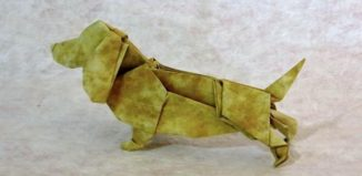 Оригами собака бассет-хаунд по схеме Сета Фридмана (Seth Friedman)