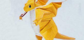 Оригами покемон Драгонит по схеме Генри Фама (Henry Pham)