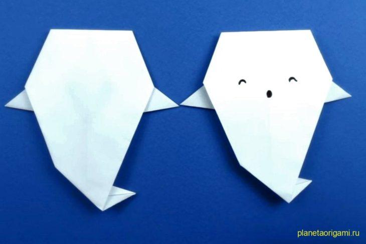 Оригами простой призрак из бумаги