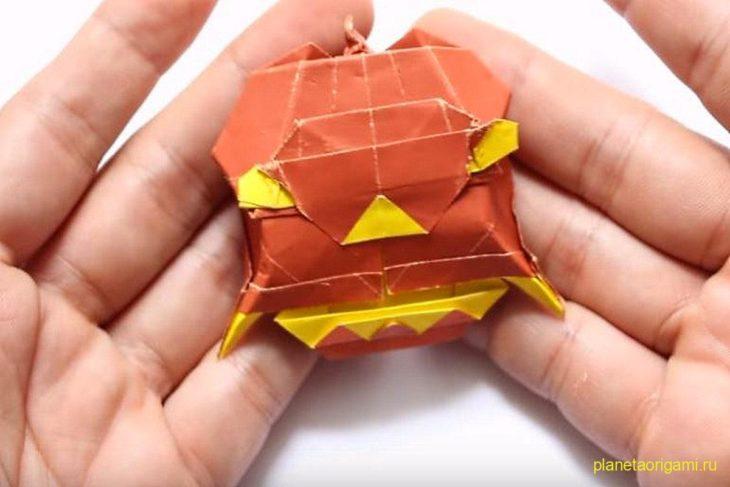 """Оригами дьявольская тыква (""""Devil"""" Pumlkin) по схеме Pham Hoang Tuan"""