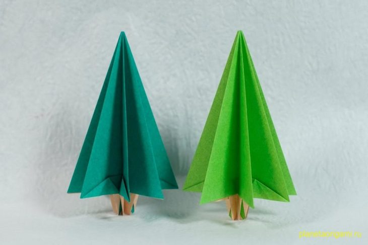 Оригами новогодняя ель по схеме Генри Фама (Henry Pham)