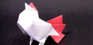 Оригами петух по схеме 彥廷