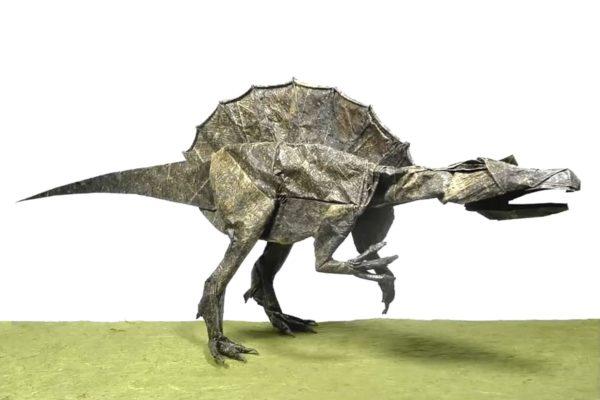 Оригами спинозавр по схеме Сатоши Камия (Satoshi Kamiya)