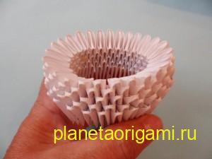 Сборка оригами снегурочки из модулей