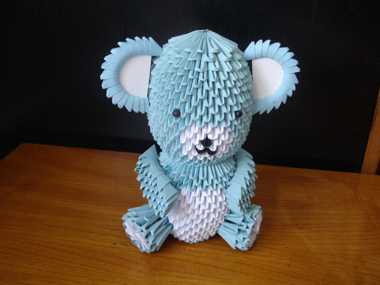 Мишка Тедди из треугольных модулей