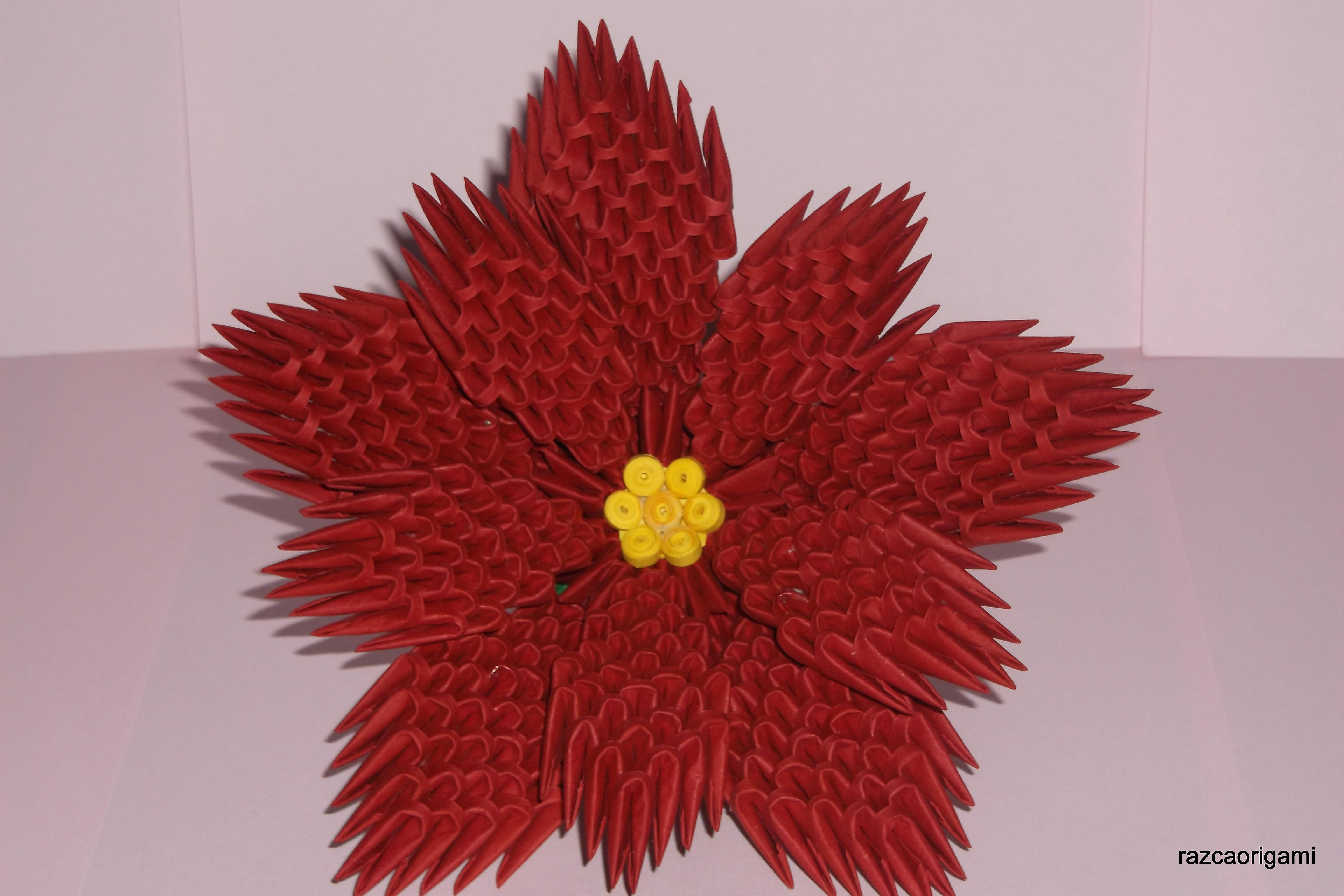3D оригами модульный цветок пуансеттия