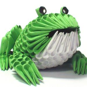 3D оригами лягушка из модулей