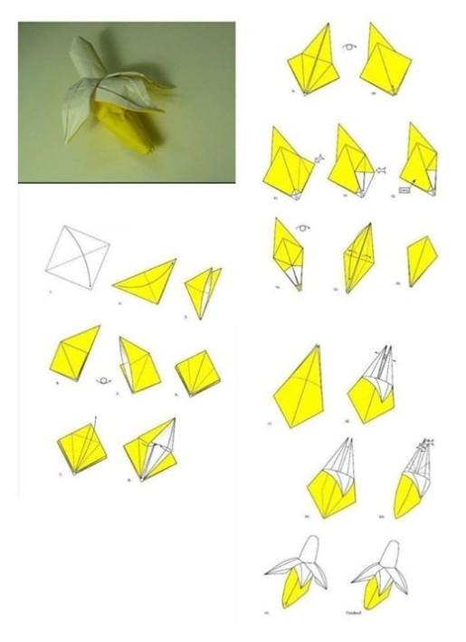 схема сборки банана из бумаги