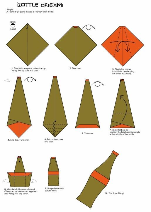 схема сборки бутылки оригами