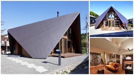 дом с крышей оригами