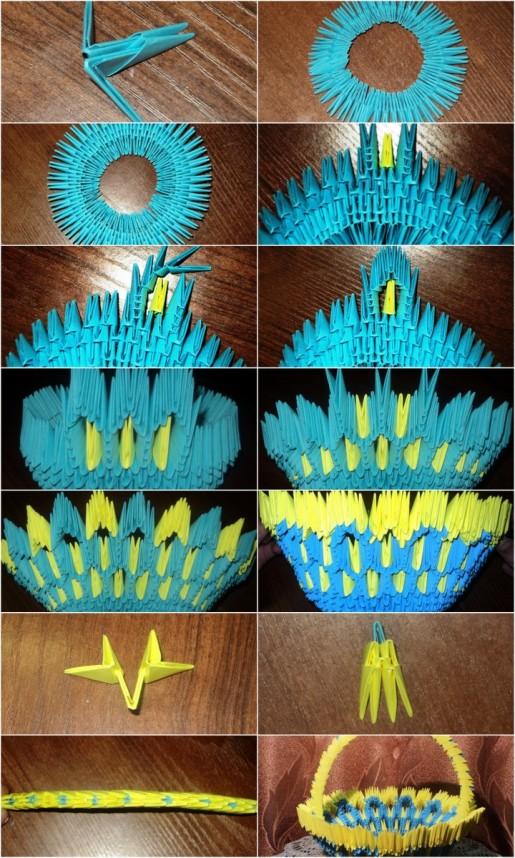 Корзина для цветов из треугольных модулей