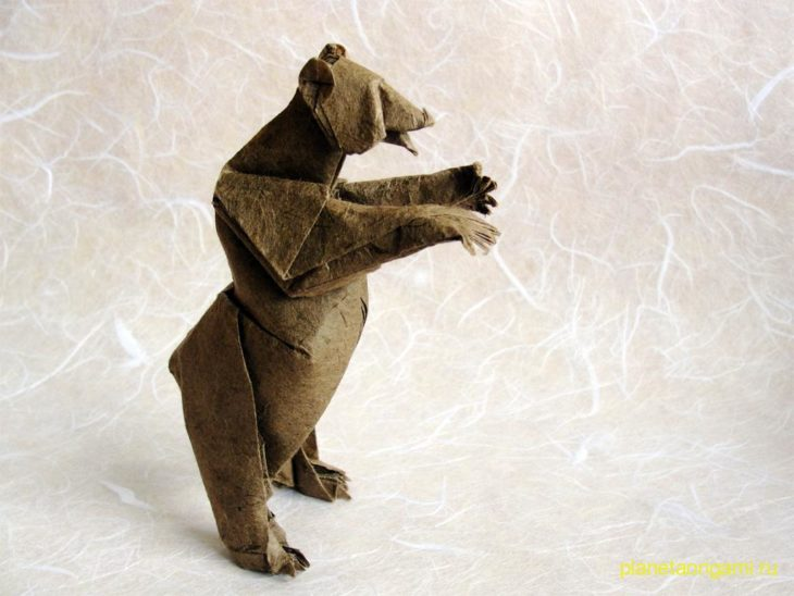 оригами медведь гризли