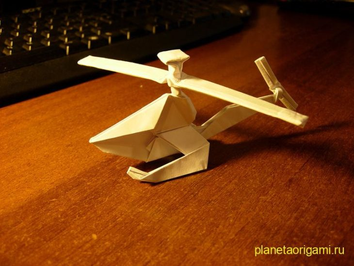 Оригами вертолет с двумя