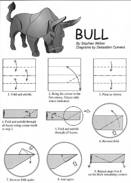 схема сборки быка оригами