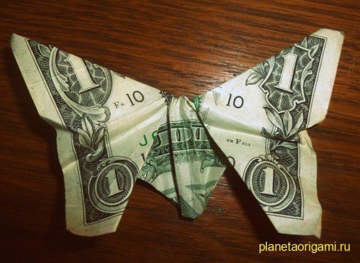 оригами бабочка из доллара
