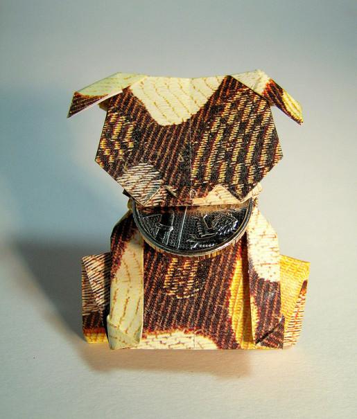 оригами собака из доллара