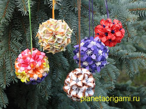 елочные игрушки оригами