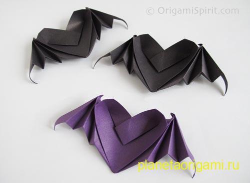 Оригами сердца с крыльями из бумаги черного и фиолетового цветов