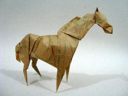 бумажная лошадь оригами