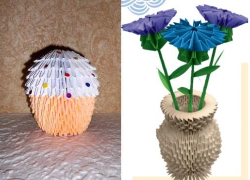 пасхальный кулич и ваза оригами