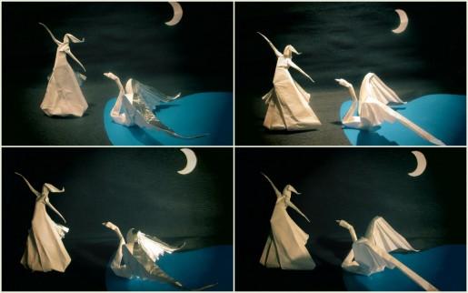 Леда и лебедь оригами