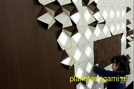 Концепт уникальной светящейся стены в стиле оригами