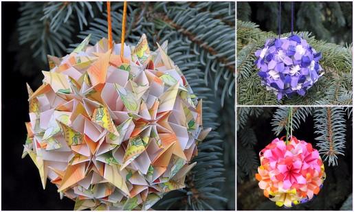 оригами елочные игрушки