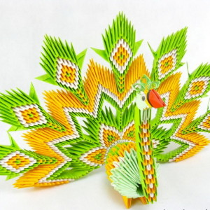 Оригами павлин из модулей от Петра Соколовски