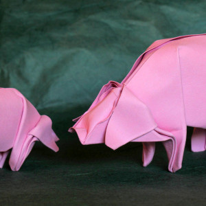 Оригами свинья по схеме Peter Stein