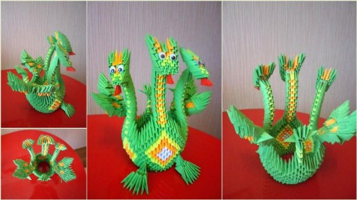 дракон из модулей от галины тиховой