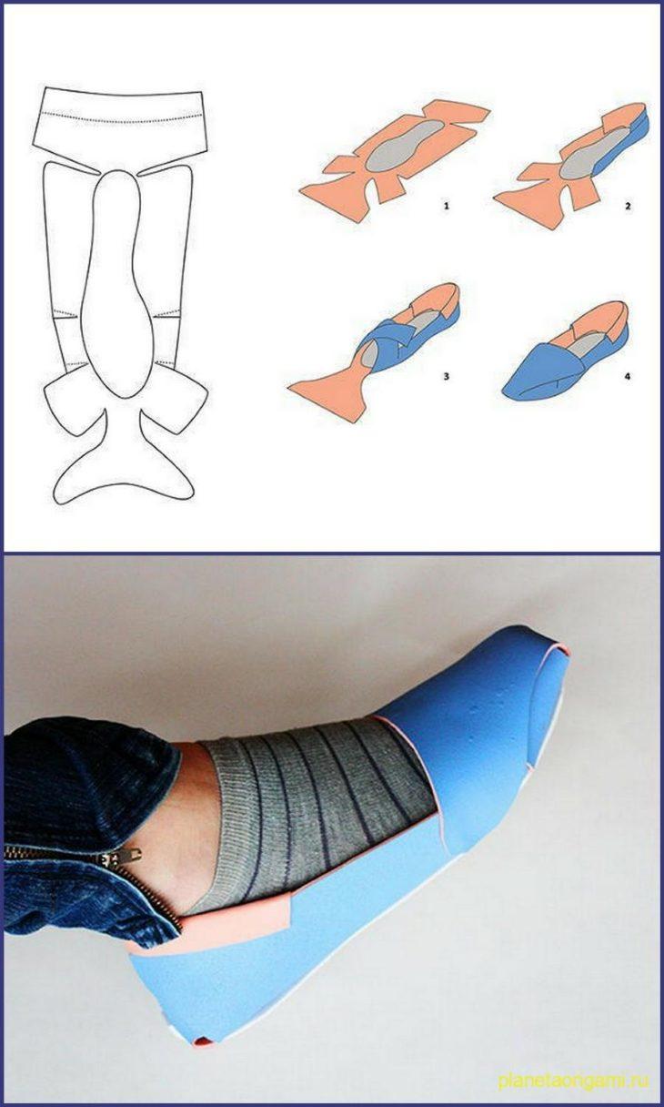 Туфель из бумаги схема