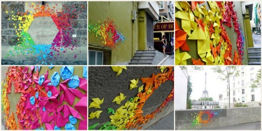 радужные оригами на улицах