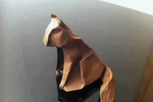 сидящая кошка оригами