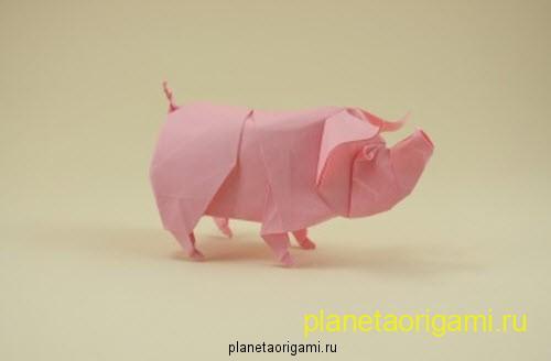 оригами свинка